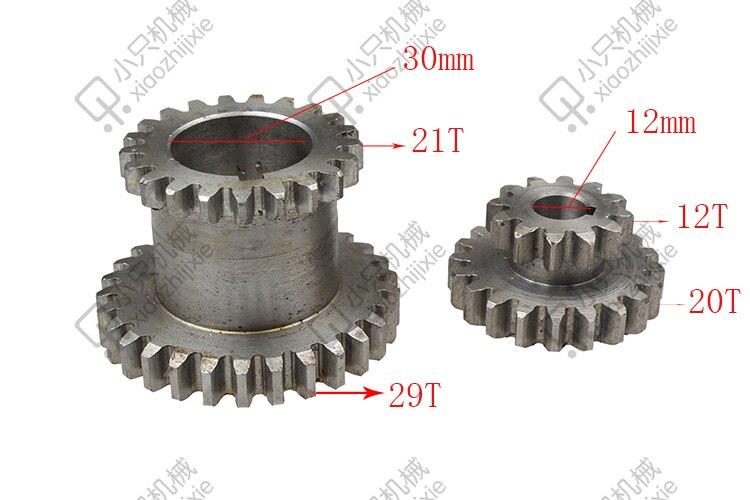 Freeshipping 2pcs/set CJ0618 Teeth T29xT21 T20xT12 Dual Dears Metal Lathe Gear duplicate gear double gear 2pcs metal differential driving gear 38t