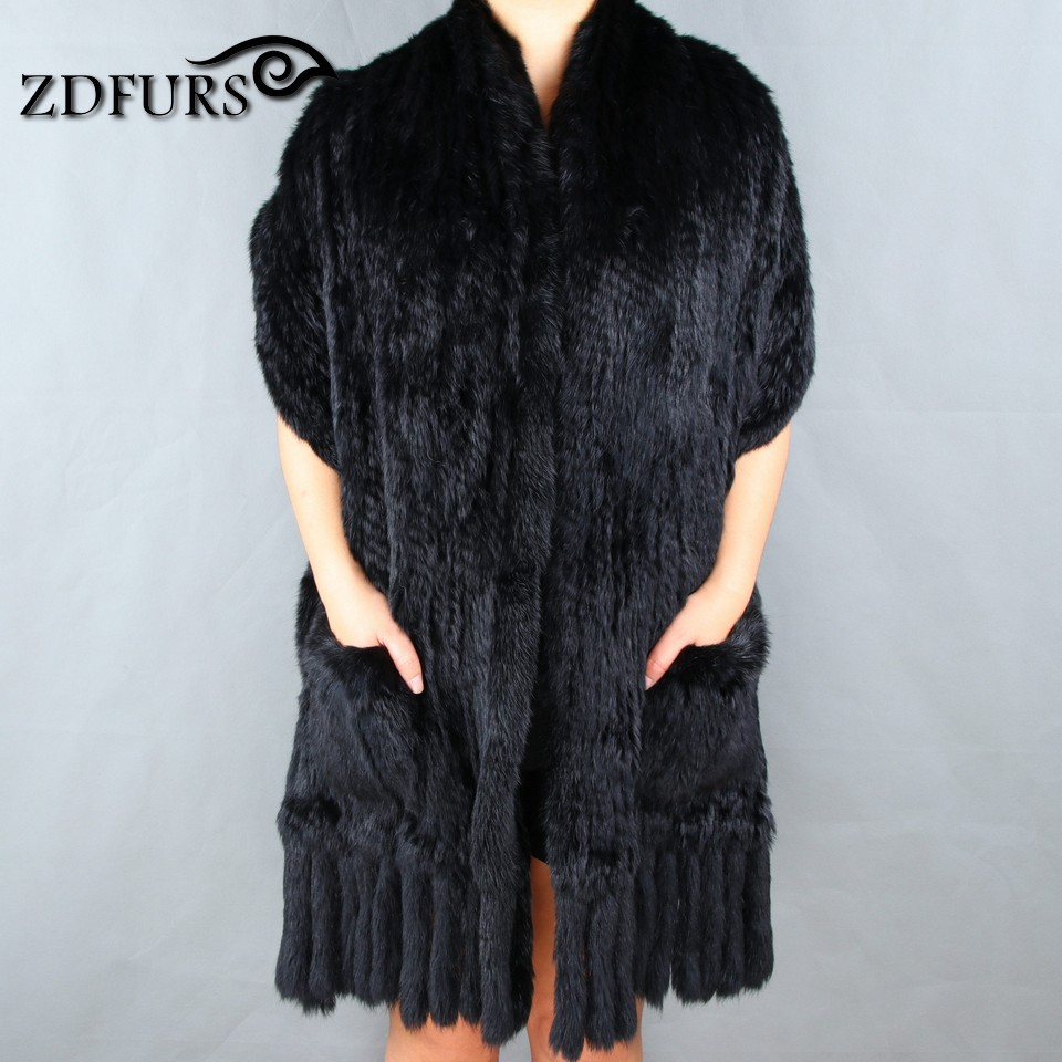 ZDFURS Luxury Women s Genuine Real Knitted rabbit Fur Scarves with Tassels Lady Pashmina Wraps Autumn
