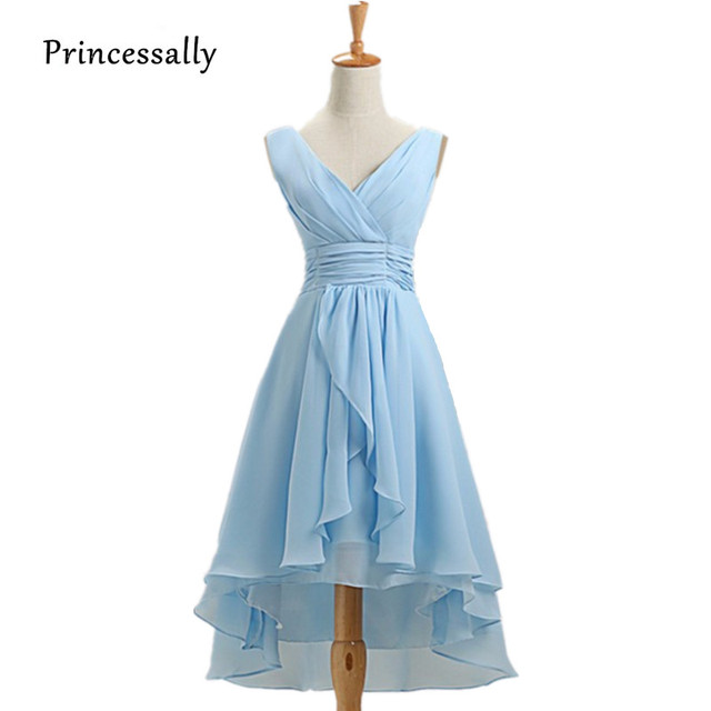 Licht Himmel Blau Brautjungfer Kleid Chiffon Falte v ausschnitt ...