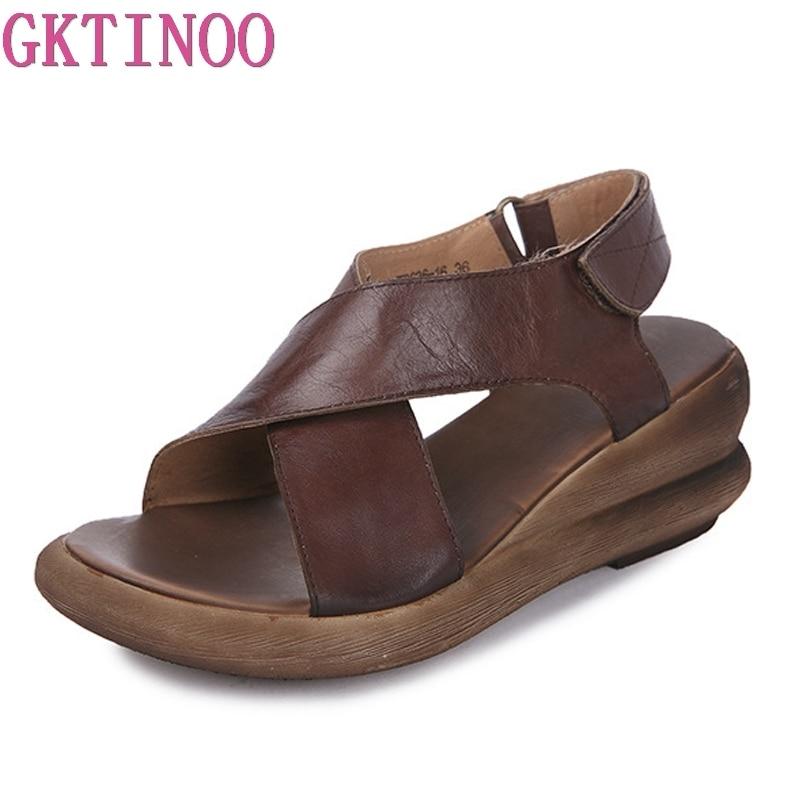 Ayakk.'ten Yüksek Topuklular'de GKTINOO Hakiki Deri Kadın Sandalet El Yapımı Platformu Takozlar Sığır Derisi Yüksek Topuk Yaz Ayakkabı kaymaz Rahat Kadın Sandalet'da  Grup 1