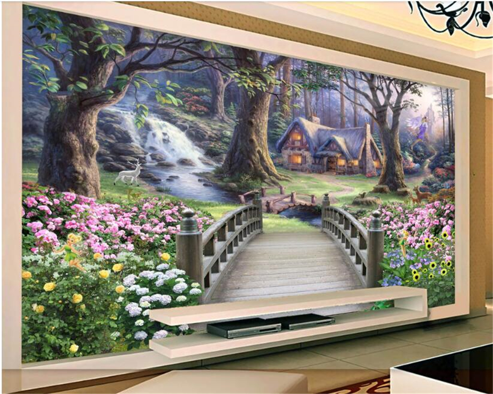 beibehang Thick three-dimensional wallpaper the most beautiful fairyland painting TV background papier peint