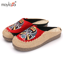 2017 New women Flat Shoes Ballerinas Dance Embroidery Shoes femme Vintage Embroidery Casual Canvas shoes ML01