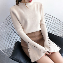 Hot selling thick women sweaters and pullovers beading trumpet sleeve sweater woman knitted autumn winter D219