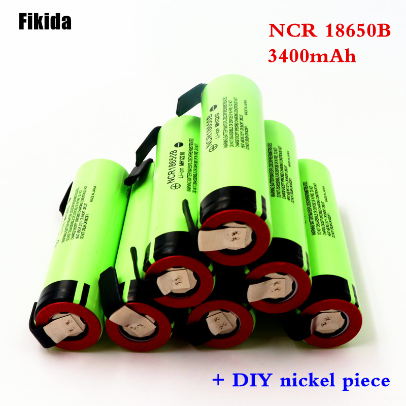 все цены на High capacity original NCR18650B 3.7V 3400mAh 18650 rechargeable lithium battery for Panasonic battery + DIY nickel piece онлайн