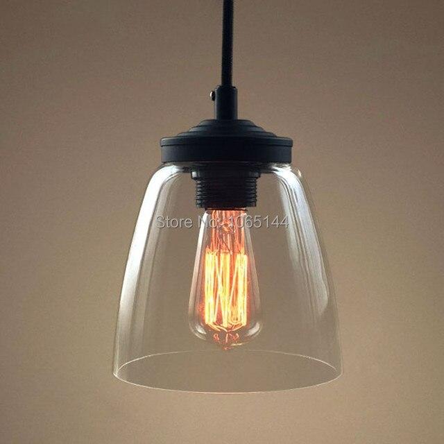 Vintage Loft Industrial American Lustre Clear Glass Edison Pendant