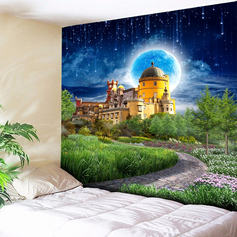 Moon Castle Galaxy Tapestry Psychedelic Wall Hanging Decorative Boho Decor Hippie Tapestries Blue Art Cloth