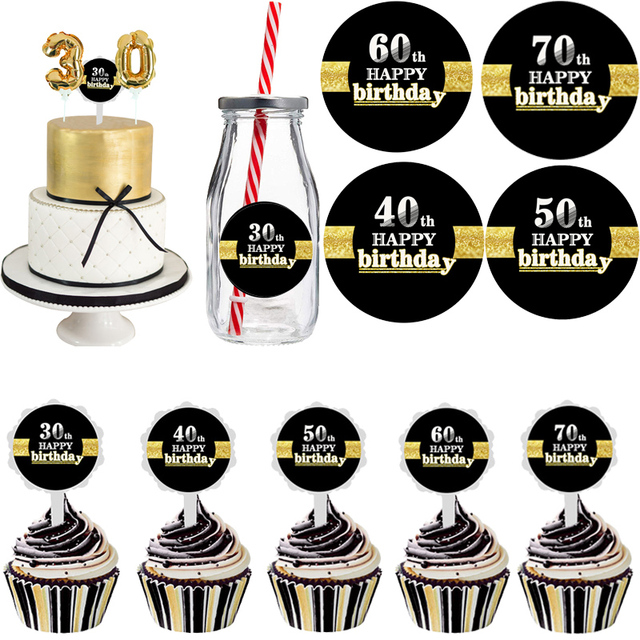 WEIGAO 30th Birthday Party Cake Topper Cupcake 30 Years 40 Picks 50th Decoration Adult