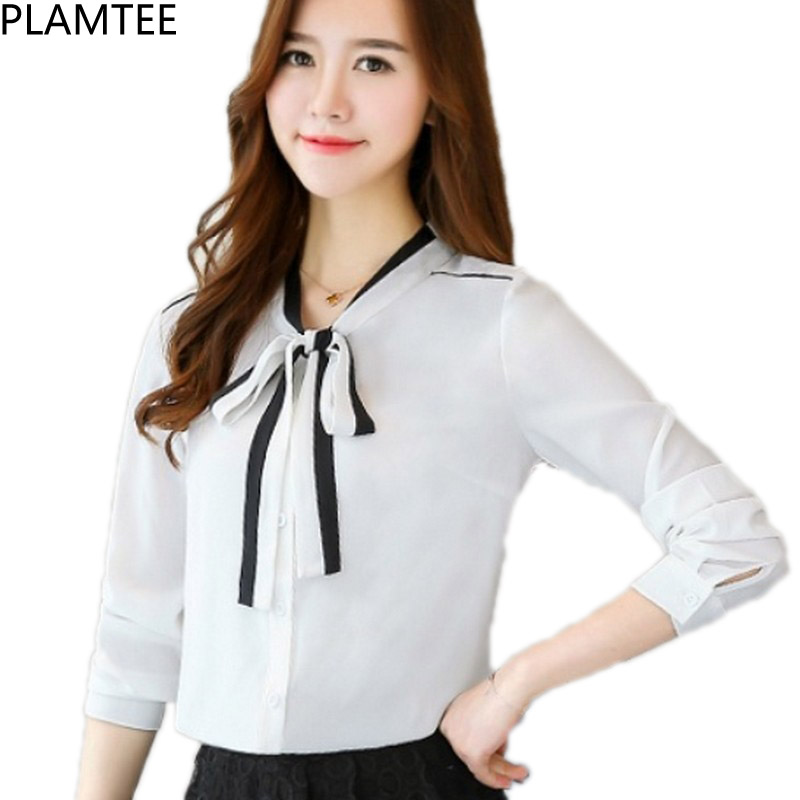 PLAMTEE Bow Womens Shirt Long Sleeve V-Neck Blouse Casual Solid Plus Size Women Tops Skinny Autumn Winter Blusas Mujer 2017