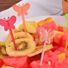 200 шт Пластиковые зубочистки в форме бабочки для фруктов одноразовые сэндвич-закуски кухонные домашние коктейльные палочки вечерние принадлежности