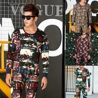 겨울 새로운 열 속옷 세트 남성 녹색 인쇄 탄성 긴 존스 도톰한 따뜻한 섹시한 브랜드 남성 바지 정장