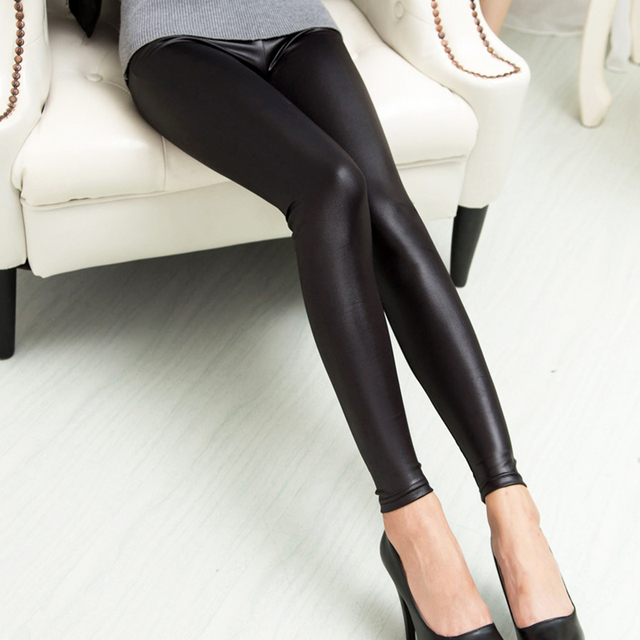 4928fe3c97a40 Faux Leather Leggings Navy Blue Sexy Women Leggins Thin Black Leggings  Calzas Mujer Leggins Leggings Stretchy ...