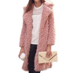 aae90e46 Lanshifei Faux Fur Coat Women's Long Jackets Furry Pink