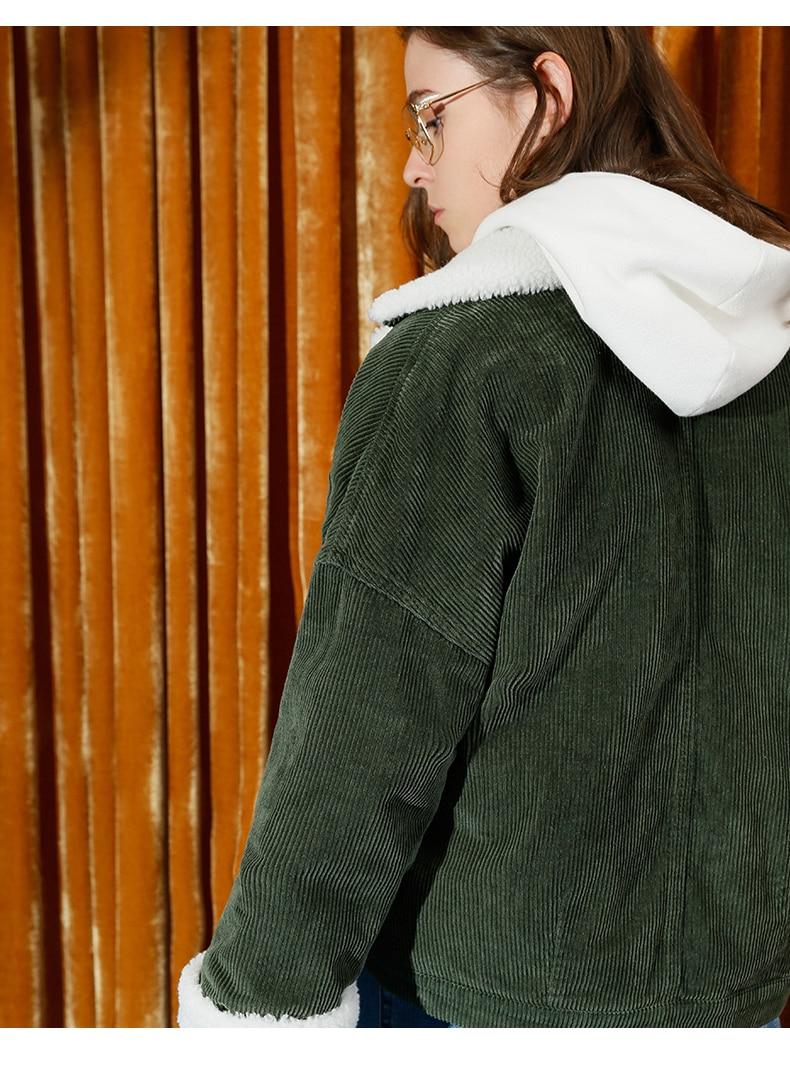 Toyouth Autumn Winter Corduroy Basic Jacket Lambswool Bomber Jacket Women Long Sleeve Jacket Casual Single Breasted Denim Jacket 11