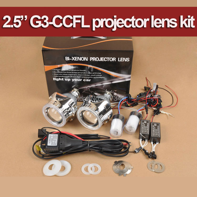 ФОТО G3 CCFL H4 H7 2.5 inches Mini HID Bi xenon Projector Lens, Xenon Bulb, Angel Eye Halo for Car Headlight Retrofit Kit