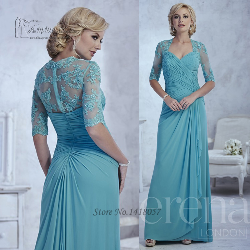 Turquoise Plus Size Mother of the Bride Dresses Lace Pleated Vestidos Para Madrinha Half Sleeve 2016