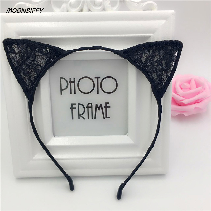 MOONBIFFY 1PC New Summer Style Girls Lace Cat Ear Headband Hairband Princess Hair Accessories   Headwear   Sexy Cute Hair Band 2018