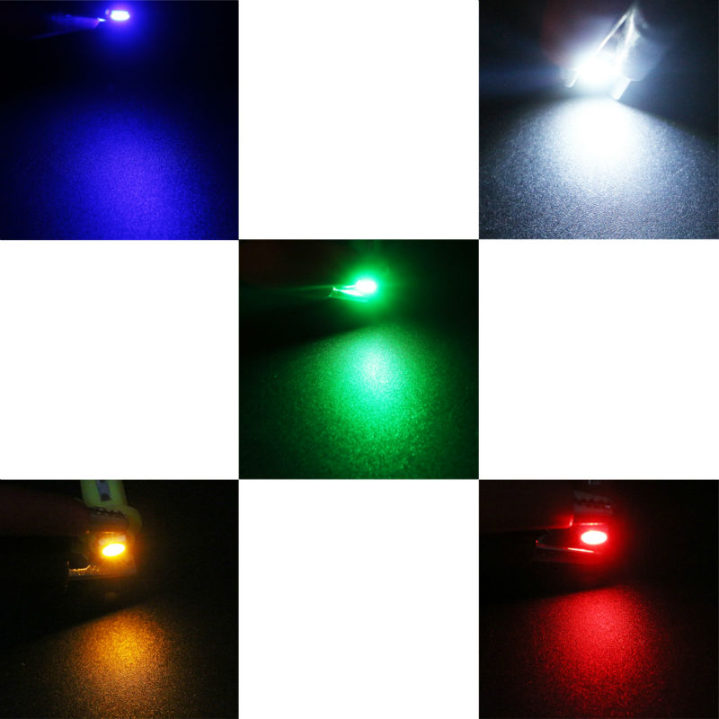 YM E-Bright 2000 шт T5 белый Янтарный синий красный зеленый светодиодный лампы с Клинообразная основа для приборных панелей выпуклые линзы приборные огни