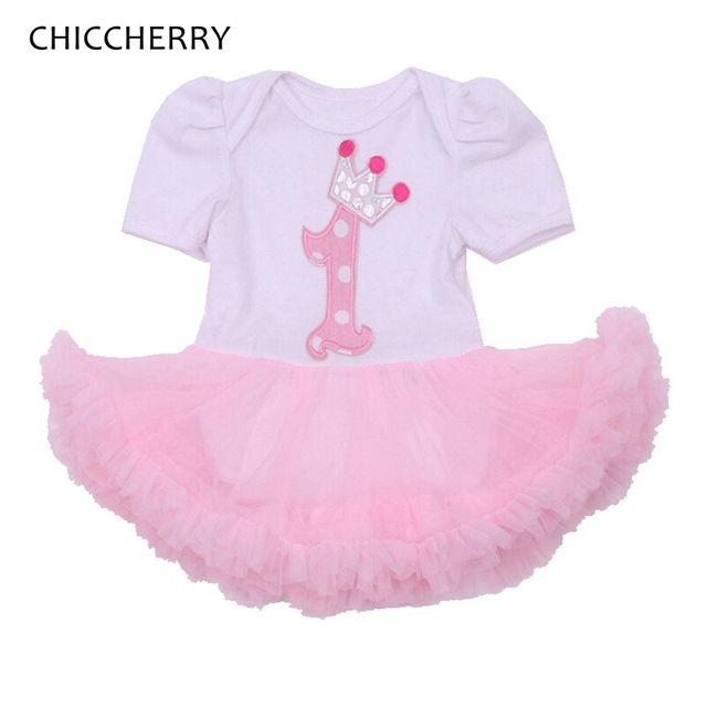 d4037399699 Crown Applique Baby Girl 1st Birthday Outfit Lace Petti Rompers Dress  Overalls Body Bebe Toddler Girl Clothing Infant Clothes