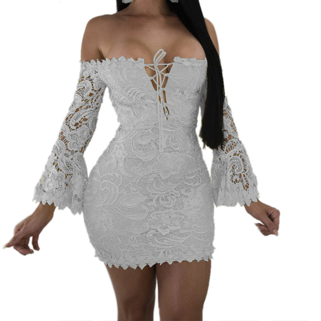 ba9194d901a Vintage White Lace Dresses Women Off shoulder Slash neck Embroidery Floral Dress  Long sleeve Elegent Bodycon Party Dress Black
