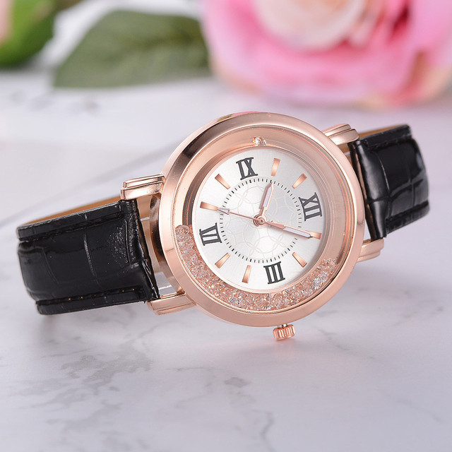 New ladies watch Rhinestone Leather Bracelet Wristwatch Women Fashion Watches Ladies Alloy Analog Quartz relojes @F