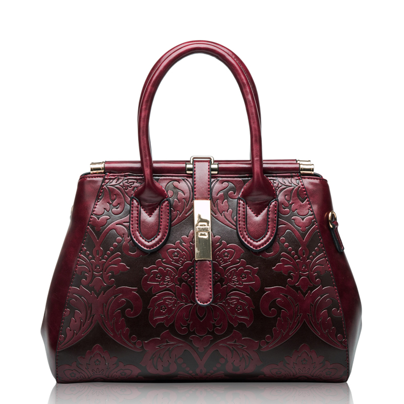 2018 Latest Style Women Vintage Frame Handbags Floral Designer Red Crossbody Bags Top Grade Genuine Leather Messenger Bags