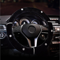 New Pearl Rhinestones Plush Fur Steering Wheel Covers Diamond Crystal Car Steering Wheel Cover Winter Interior Car Accessories