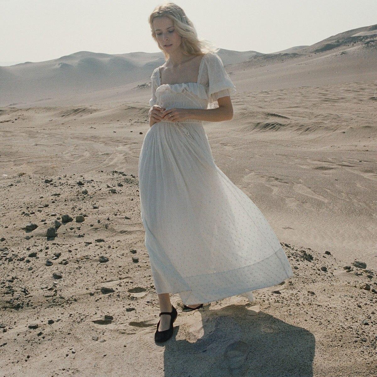 Translucide volants Chic robe mi-longue femmes blanc carré dos nu Sexy robes 2019 été vêtements plage Boho Vintage Hippie robe