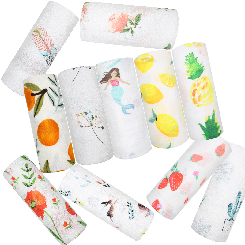 Muslin Baby Blanket For Newborns Cotton Bamboo Fiber Soft Baby Swaddle Lemon Pineapple Pattern Muslin Wrap Infant Baby Bedding