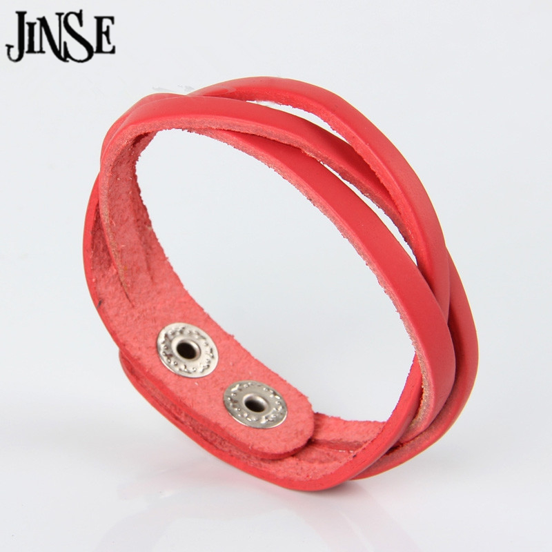 JINSE New Punk Rock Style Cool Simple Braided Unisex Leather Hand Bracelets Wristband Cuff Bangles Soft Cowhide Fine Jewelry