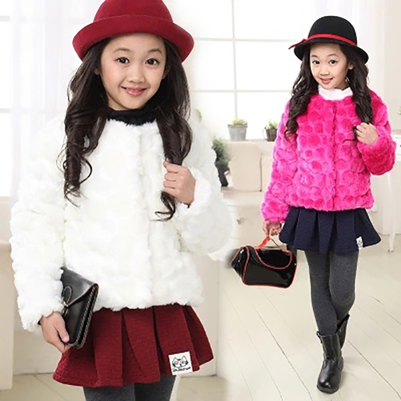 Children fur coat female 2018 autumn and winter Korean version of the small   Imitation rabbit fur short jacket FPC-165