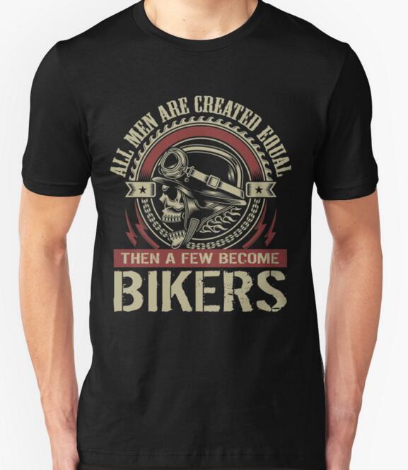 Футболка Магазин Экипаж Средства ухода за кожей шеи с коротким рукавом мода 2018 мужские созданы равными затем несколько стать байкер графич... ...