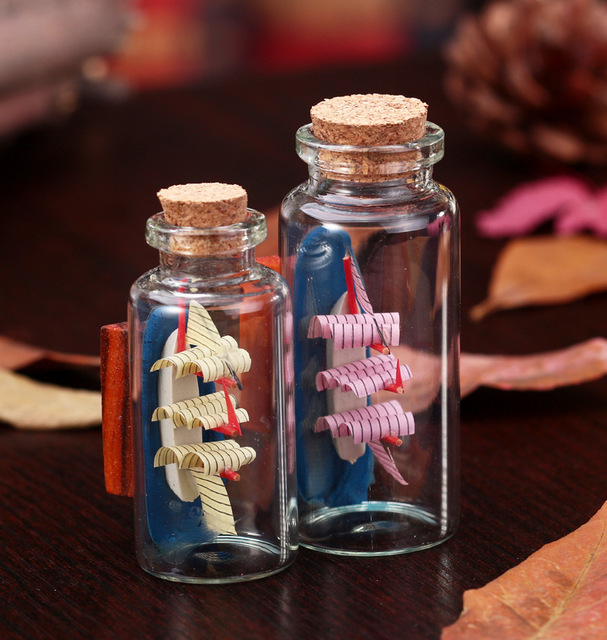 Decorative Bottles With Corks Unique Meditterrean Style Sailboat Glass Jar Fine Crafts Home Desk Design Ideas