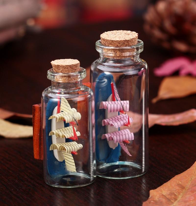 meditterrean style sailboat glass jar fine crafts home desk decoration cleartransparent small bottles with corks glass - Decorative Glass Jars
