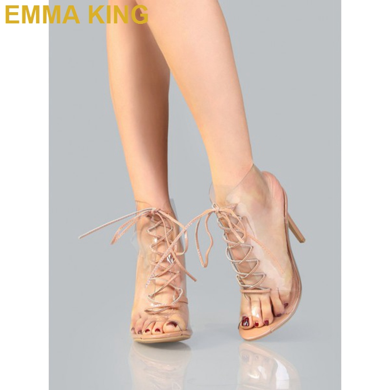 Trendy PVC Lace up Sandals Boots Peep Toe Stiletto Heels Women Sandals Thin High Heeled Sexy Pumps Short Summer Booties Shoes - 3