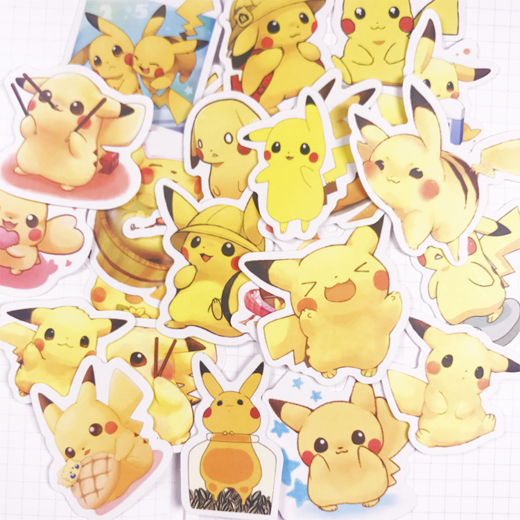 24pcs Various Pokemons Japanese Cartoon Anime Animal Decoration Sticker Diy Ablum Diary Scrapbooking Label Sticker Stationery