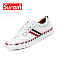 SUROM Breathable Causal Shoes Men Loafers High Quality Lace Up White Color Moccasins Bullock Men Oxfords