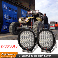 9 inch Round 185W LED driving light Spot Flood 12V 24V 4WD ATV UTE SUV offroad Car Tractor Boat Fog Offroad Lamp with cover x2pc
