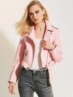 Motorcycle PU Leather Jacket Women Winter Autumn New Fashion Coat Pink Zipper Outerwear Jacket New 2017