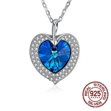 LEKANI Crystals From Swarovski Love Heart Rosary Women Jewelry 925 Sterling  Silver Necklace Pendant Accessories ec25c9602fe3