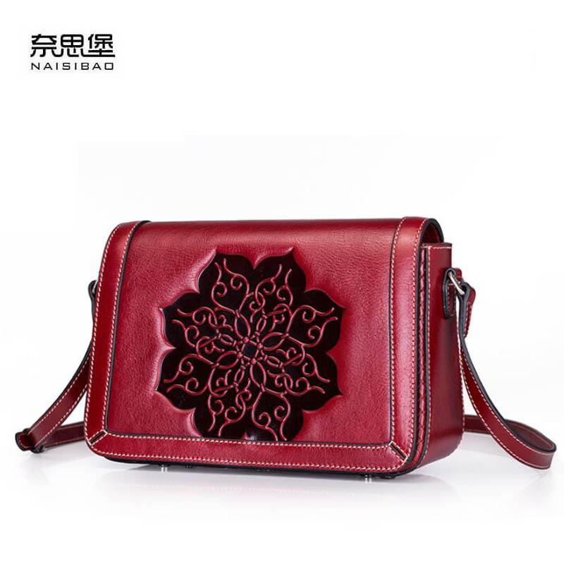 2018 New Messenger Bag Leather Handbag Vintage embossed first layer leather small square package Shoulder Bags bag female new genuine leather handbags first layer of leather shoulder bag korean zipper small square bag mobile messenger bags