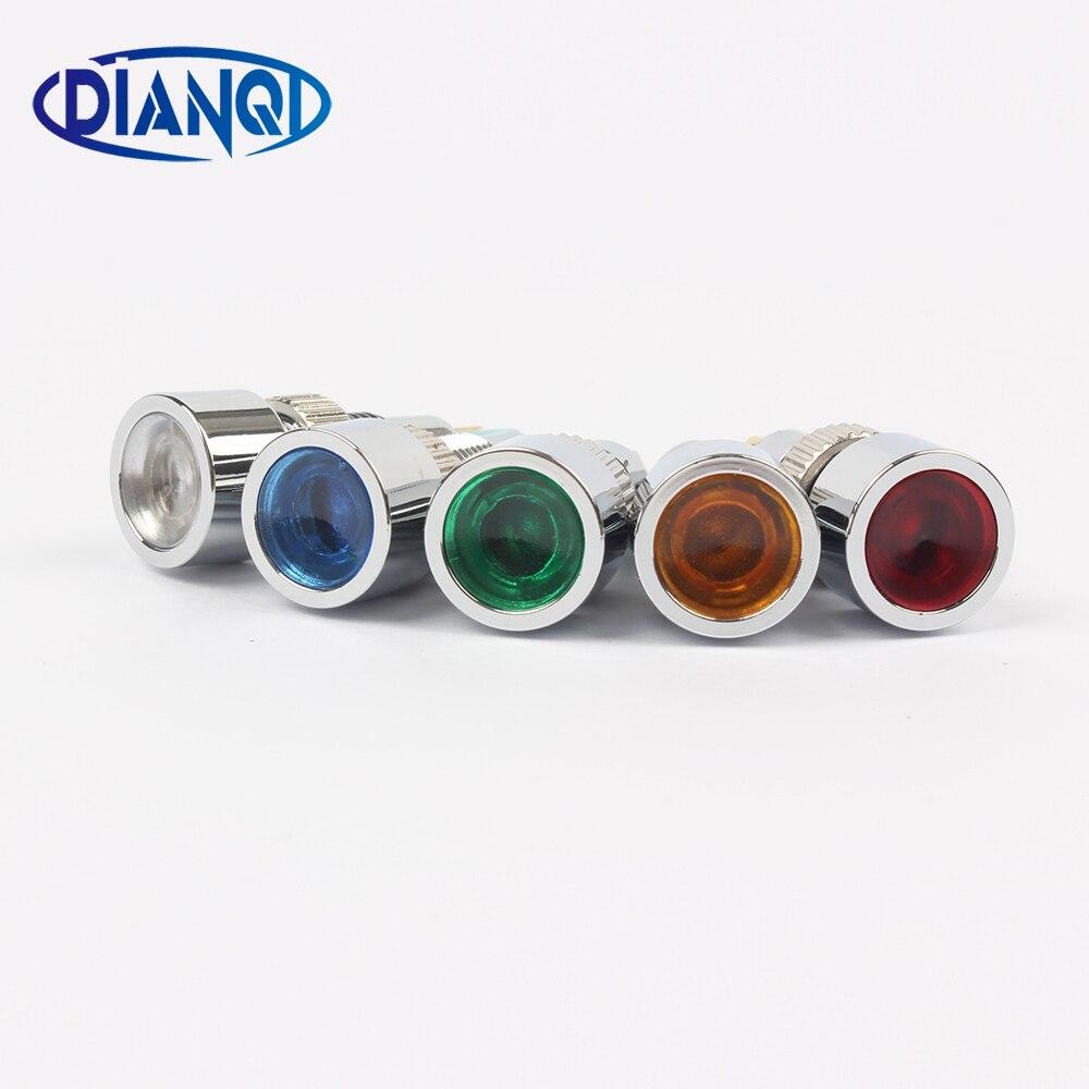 цена на LED Metal Indicator light 8mm waterproof POWER Signal lamp 6V 12V 24V 220v red yellow blue green white 8ZSD.DT.C