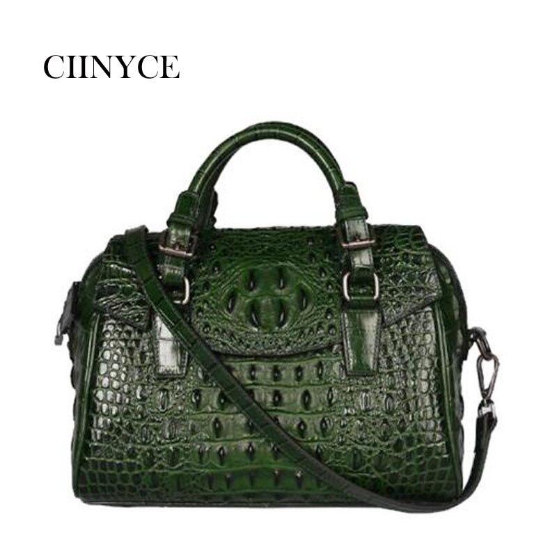 цена на Oil Wax Cowhide Women Shoulder Tote Handbag Retro 100% Genuine Leather Crocodile Pattern Cross Body Messenger Top Handle Bags