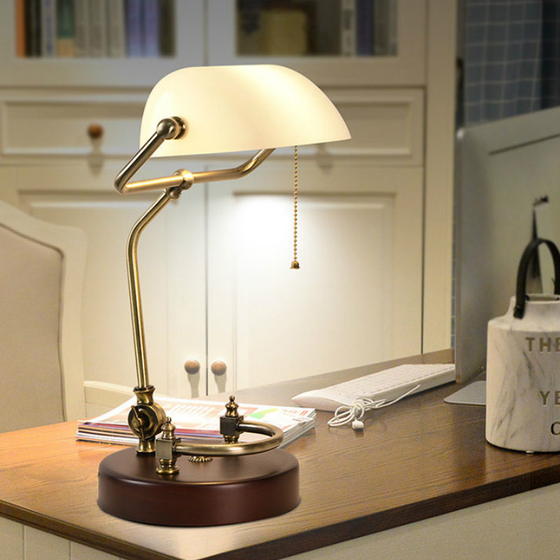 FANHHUI Classical Vintage Banker Lamp E27 Table Lamp  Glass Lampshade  for Bedroom Study Home Reading Desk Lights 90V 240V|Desk Lamps| |  - title=
