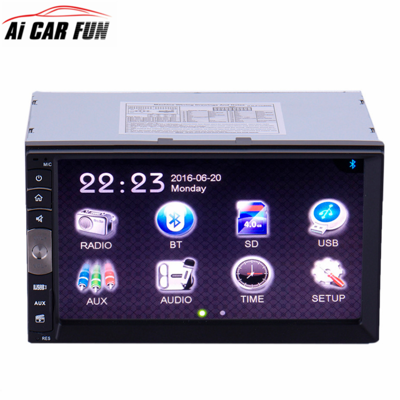 7 inch 2 Din Car Radio HD Touch Screen MP5 Player Bluetooth Car Stereo Vedio AM/FM Radio USB/TF Support MP3/WMA/WAV Aux Input 7 hd bluetooth touch screen car gps stereo radio 2 din fm mp5 mp3 usb aux z825