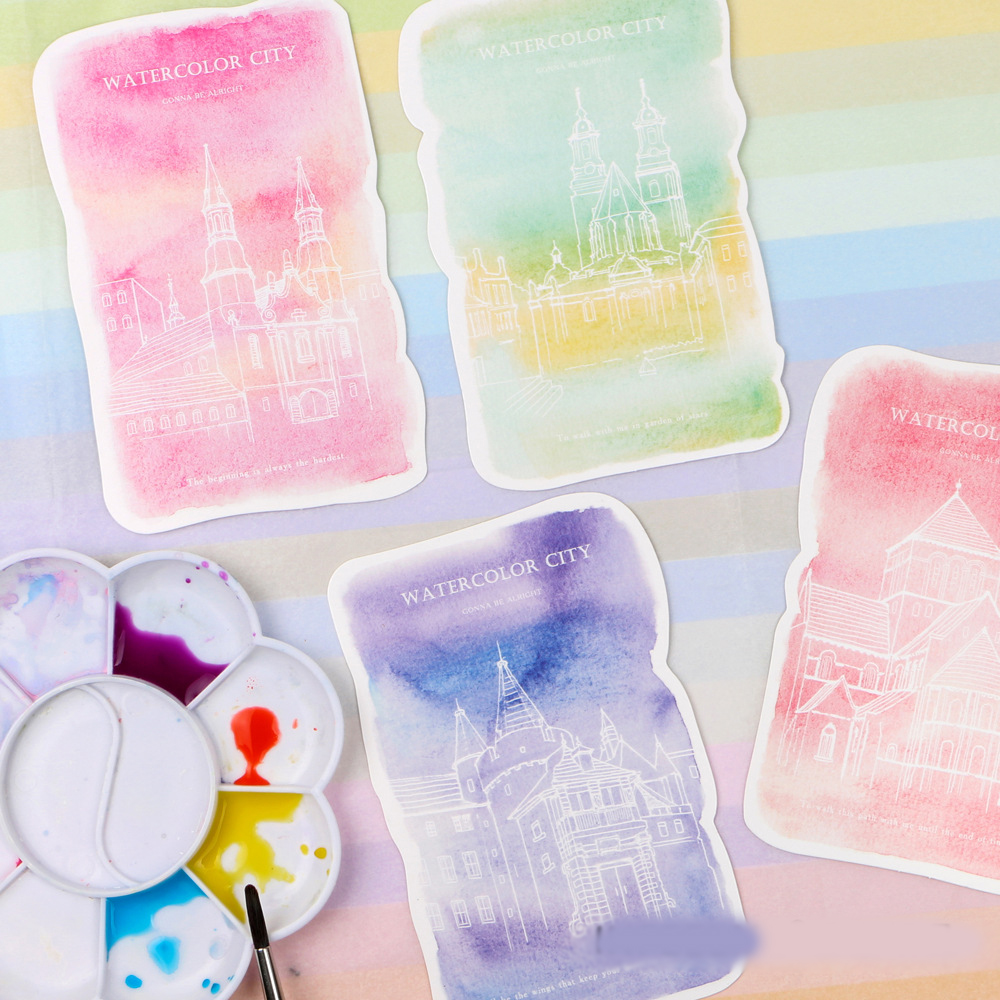 30pcs watercolor painting city card multi-use as Scrapbooking party invitation DIY Decoration gift card message card postcard