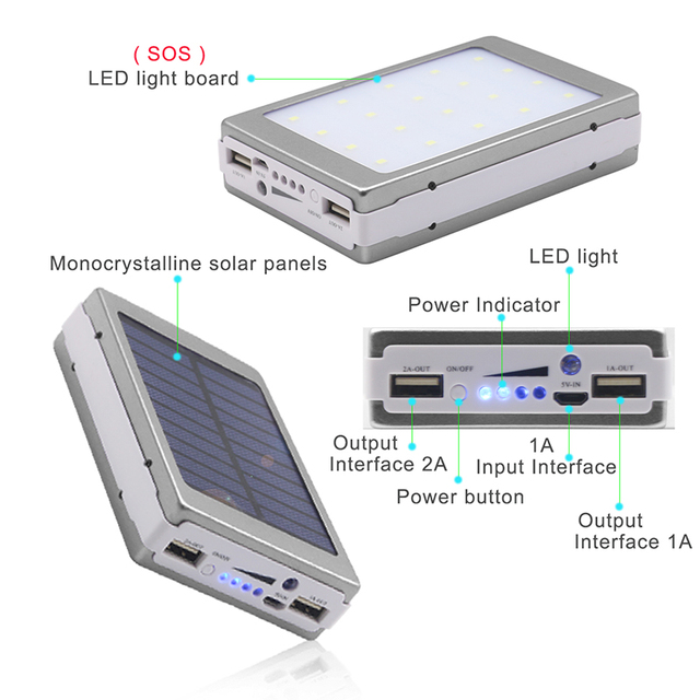 YFW 12000mAh Solar Power Bank 18650 Poverbank External Battery Power Charger with 20 Pieces LED Lamps for Smart Mobile Phones