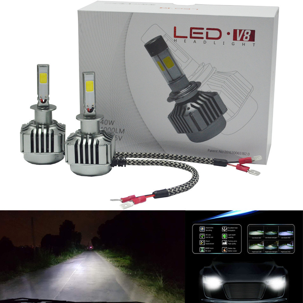 2017 80W 8000LM LED H1 Headlight Kit Low Beam Bulbs 6000K White Bulbs Ultra-bright 18Jan19