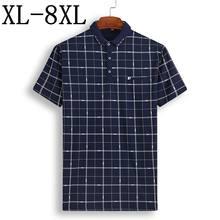 Plus Size 8XL 7XL 6XL 2019 Novo Verão Xadrez Camisa Dos Homens do Polo  Business Casual Masculino Camisa Pólo de Manga Curta de A.. 6ffc4b9cd029d