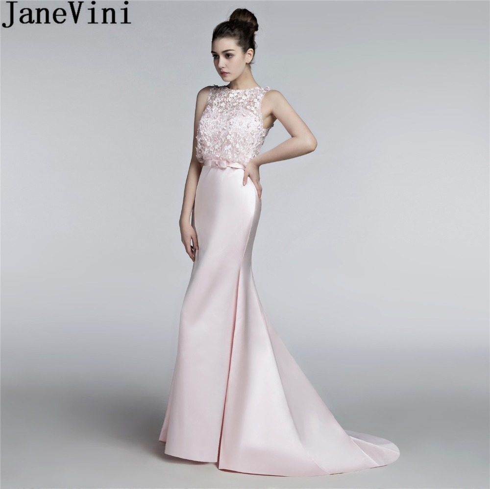JaneVini Elegant Pink Flowers Mermaid   Bridesmaid     Dresses   Long Satin Beaded Wedding Party   Dresses   For Women Lace Sweep Train Gown