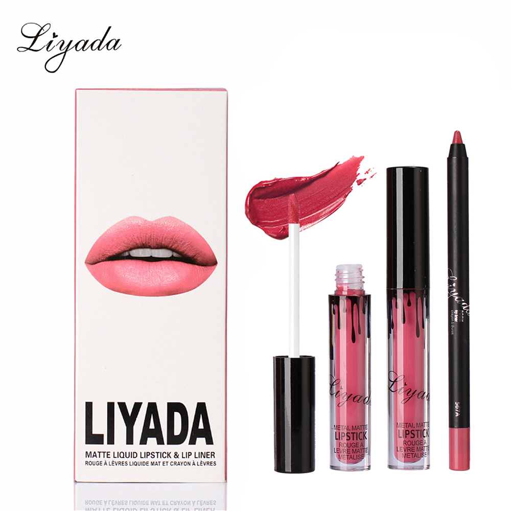 liyada matte liquid lipstick with pencil set makeup long lasting waterproof rouge a levre mat
